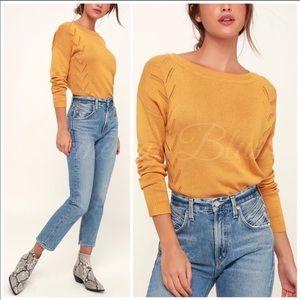 Mustard lightweight knit top